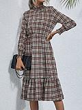 Image of Plaid High Neck Ruffled Long Sleeve Dress