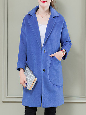 Women's Casual Loose Single-Breasted Long Sleeve Woolen Coat gender:female, season:winter, collar:lapel collar, texture:woolen, sleeve_length:long sleeve, sleeve_type:regular sleeve, style:japan and south korea, collar_type:fold collar, design:single-breasted, dress_occasion:daily, bust:98,clothing length:80,