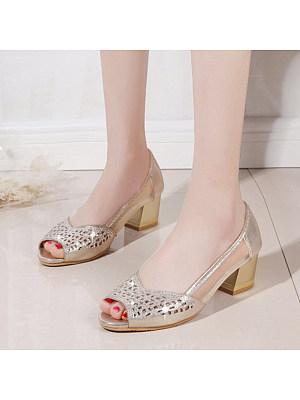 Fashion ladies peep-toe rhinestone mid-heel sandals