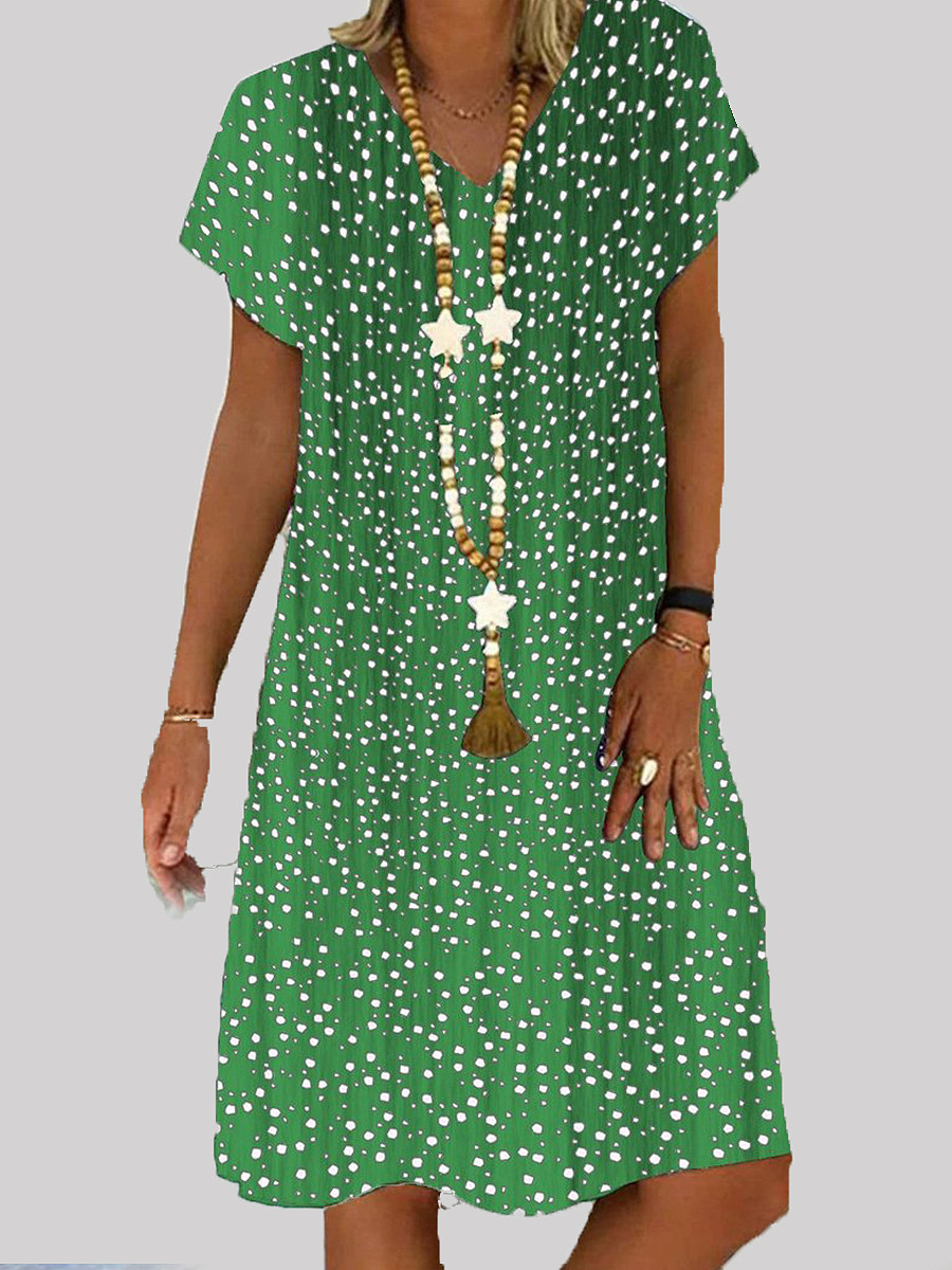 V Neck Printed Shift Dress