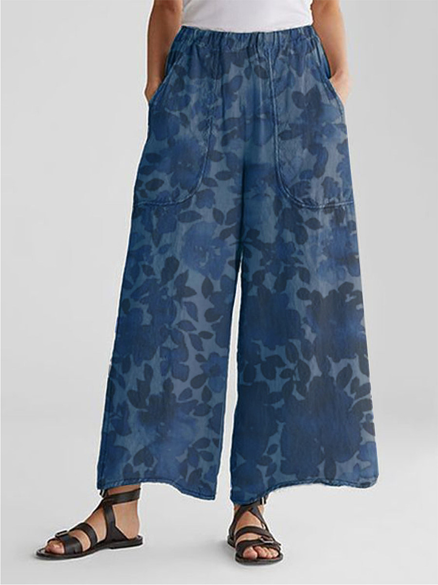 BerryLook Fashionable cotton and linen loose printed wide-leg pants