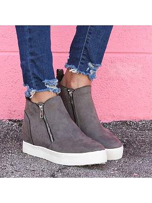 Casual thick bottom side zip solid color boots, 10573827