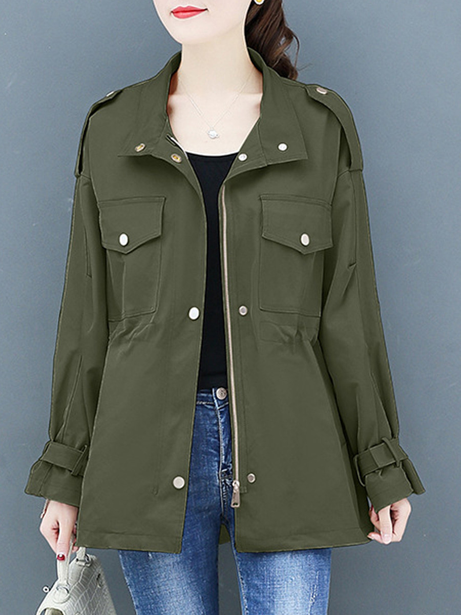 Fashion Loose Fold-Neck Trench coat