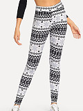 Image of Fashion gradient color printing casual tight leggings
