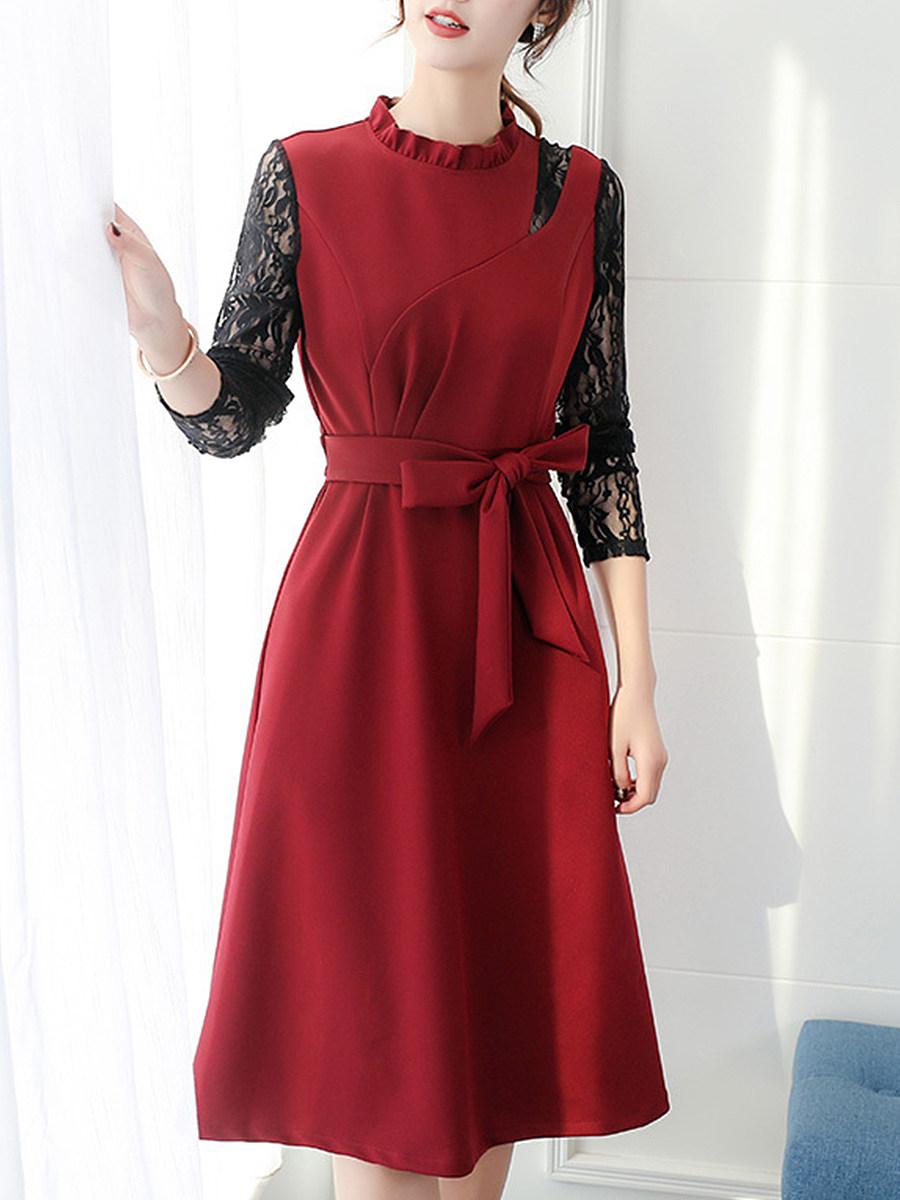 Long Sleeve Dress Lace Waist show thin all-around shift dress - $19.95