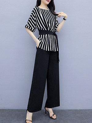 Round Neck Striped Printed Wide-leg Pants Two-piece Suit