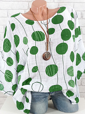 Polka Dot Three-Quarter Sleeve Blouse фото