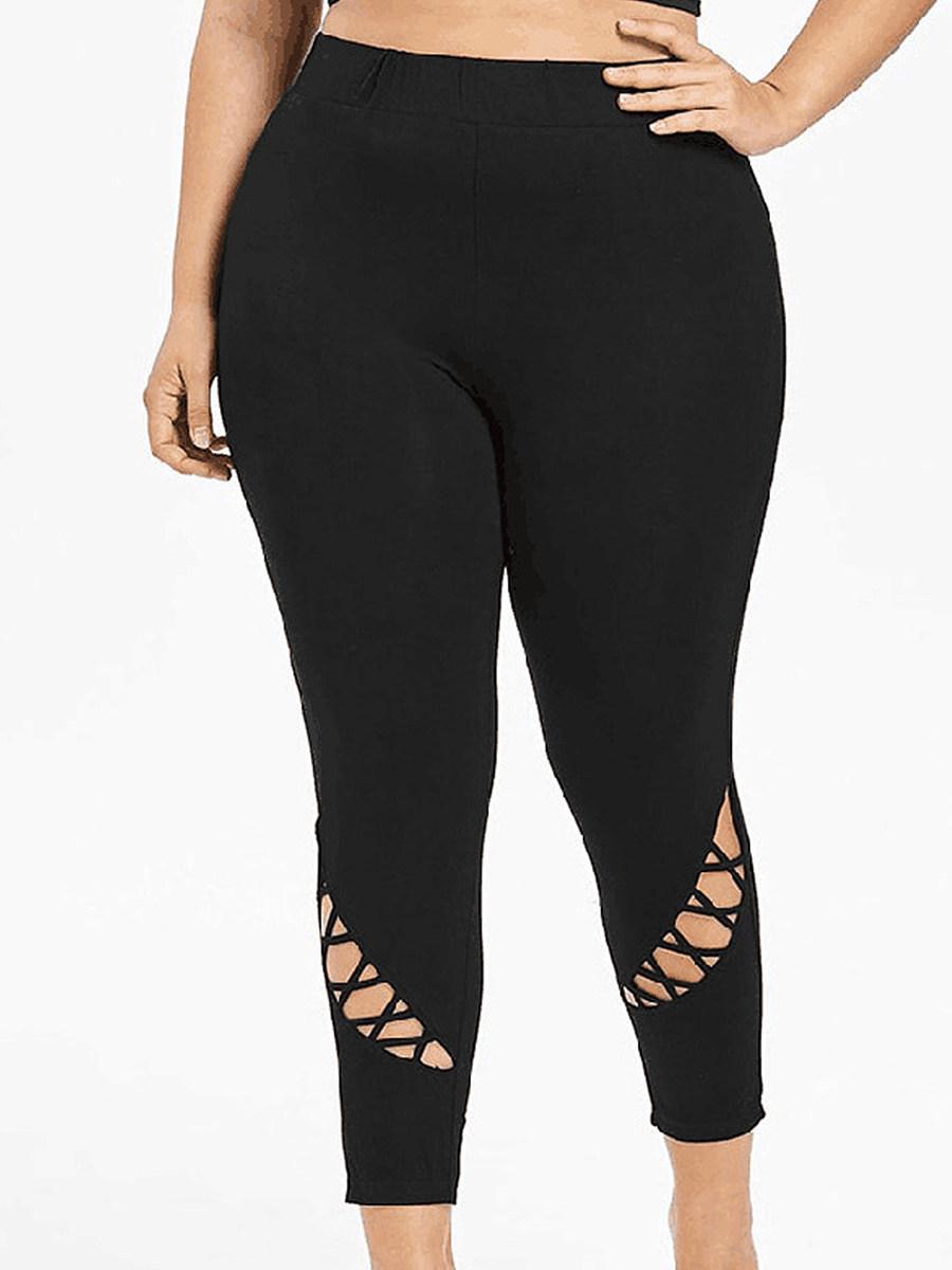 BerryLook Fashion high waist stretch hollow nine points pants yoga pants
