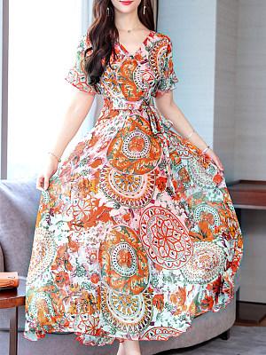 Berrylook Ruffled V-neck Large Maxi Dress shop, sale, long sleeve dress, floral dresses