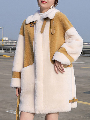 Women's Fashion Colorblock Lambskin Coat gender:female, season:winter, texture:artificial fur, sleeve_length:long sleeve, sleeve_type:regular sleeve, style:japanese and korean style, collar_type:fold collar, dress_occasion:daily, bust:126,clothing length:84,sleeve length:46,