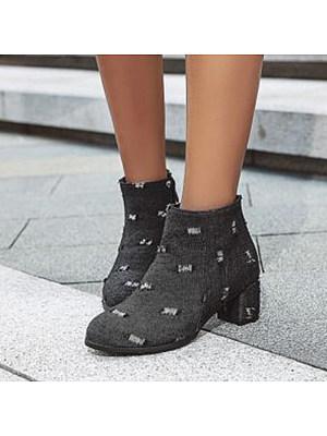 Fashion round head denim chunky heel boots, 10073036