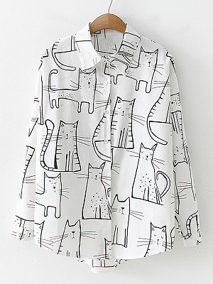 Turn Down Collar Cartoon Print Long Sleeve Blouse, 25130673
