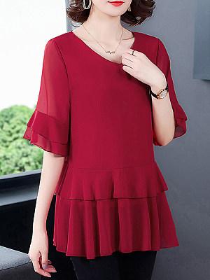 V Neck Plain Fake-two-piece Short Sleeve Blouse, 24446935