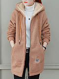 Image of Lamb Wool Hooded Plain Jacket Coats