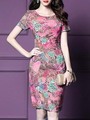 Fashion Slim Print Bodycon Dress фото