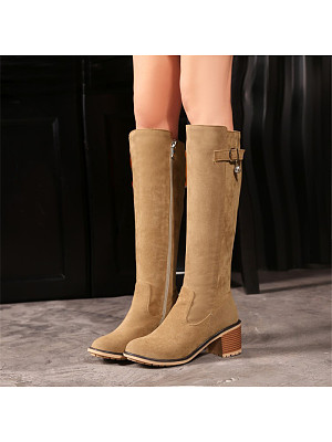 Casual ladies pure color side zipper thick heel high boots, 10654580