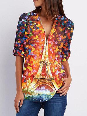 V Neck Zips Print Roll-Up Sleeve Long Sleeve Blouse, 24513632