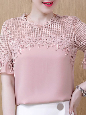 Round Neck Patchwork Short Sleeve Blouse, 11293616
