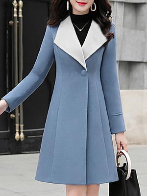 Women's Lapel Single Button Coat, 10676302