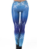 Image of Fashionable Slim Snowflake Printed Stretch Casual Leggings