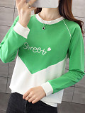 Image of Fashion color-block printing long-sleeved sweater