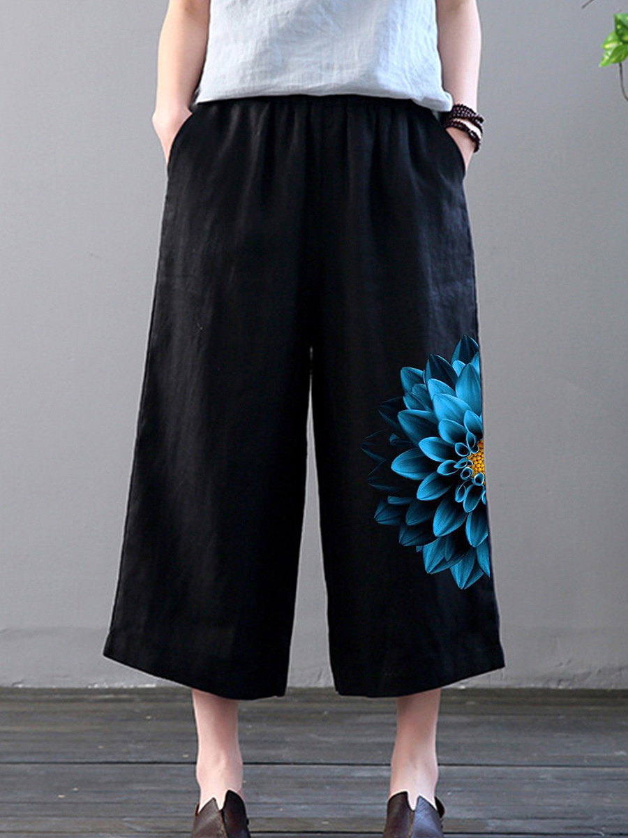 BerryLook Fashion 3d printed cotton and linen casual wide-leg pants