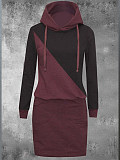 Image of Colorblock Hooded Long Sleeve Dress