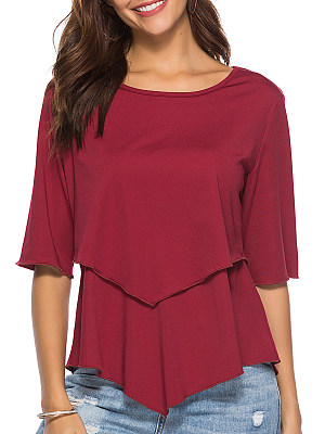 Round Neck Plain Patchwork Half Sleeve T-shirt, 11580399