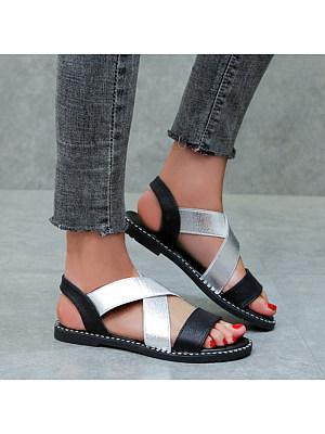 Women's Casual Colorblock Elastic Sandals