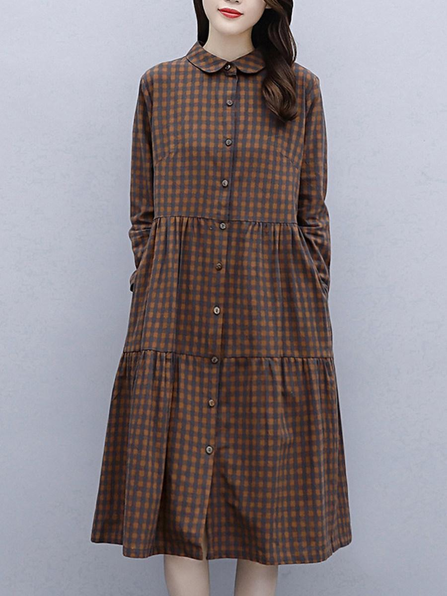 Casual Plaid Print Long Sleeve Dress