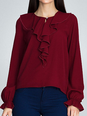 Round Neck Plain Long Sleeve Blouse, 11415242