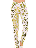 Image of Fashion gradient print leopard leggings