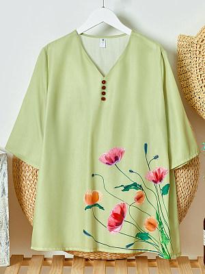 Womens floral print v-neck short-sleeved shirt