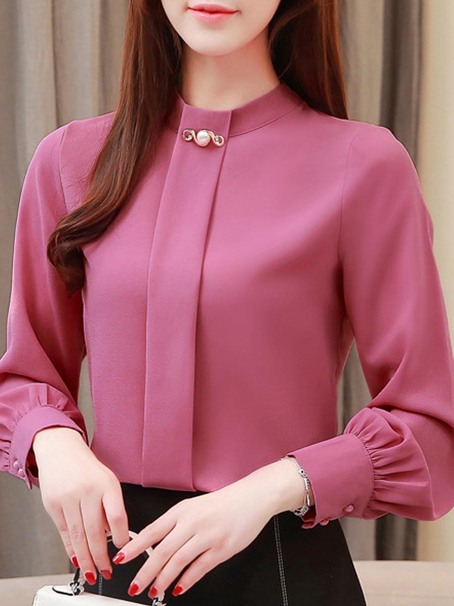 Band Collar Elegant  Long Sleeve Blouse