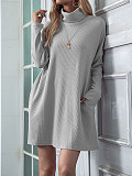 Image of Solid Color Round Neck Long Sleeve High Neck Dress