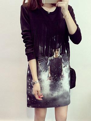 Women's round neck print midi dress, 10654707