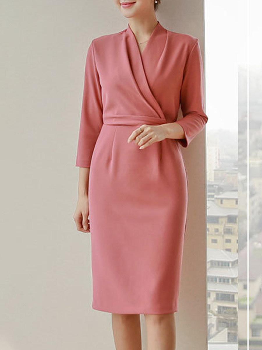 Lady Elegant V-Neck Plain Bodycon Midi Dress - from $24.95
