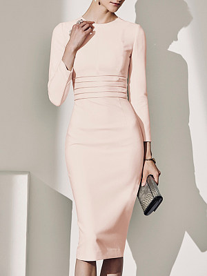 Elegant round neck pure color slim-fit dress фото