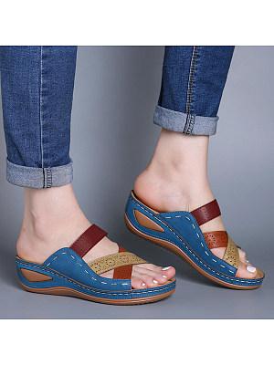 Cross open toe wedge slippers, 23558358