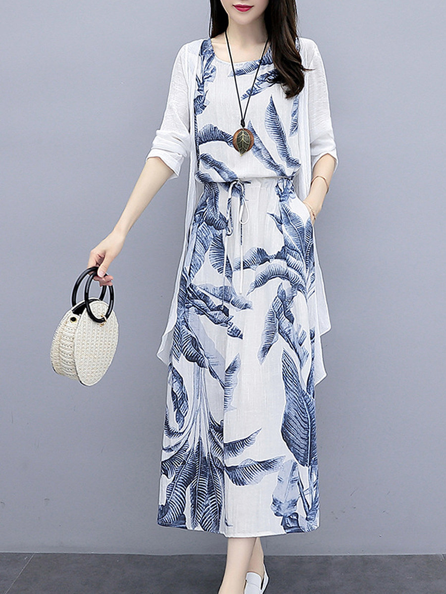 Loose ink painting printed sleeveless dress two-piece suits - from $24.95