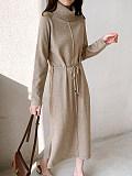 Image of Waist Long Sleeve High Neck Knitted Dress