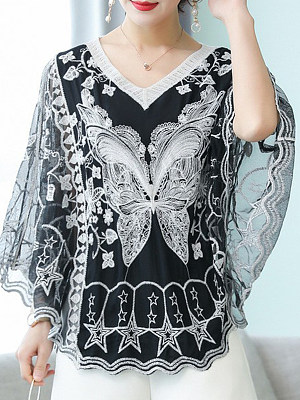 V Neck Patchwork Lace Batwing Sleeve Blouse, 11205703