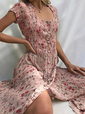 Berrylook coupon: Summer Single-breasted Floral Short-sleeved Dress