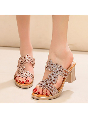 Sexy golden mid-heel rhinestone lady thick with flower sandals, 11304010