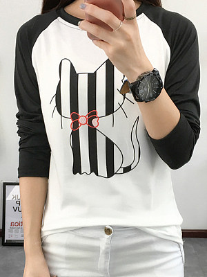 Fashion Print Colorblock Sweatshirs, 11409416