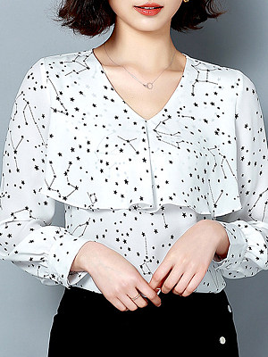 V Neck Star Printed Long Sleeve Blouse, 11333577