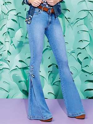 Fashion mid-waist lace-up stretch jeans