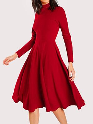 Berrylook Solid Color High Collar Long Sleeve Dress online, online stores, long sleeve skater dress, floral skater dress
