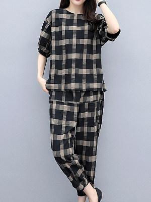 Round Neck Plaid Short Sleeve T-shirt And Elastic Waist Bottom Suit, 11267908