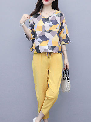 Round Neck Print Short Sleeve Casual Suit